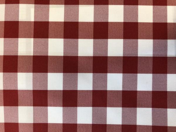 Zdjęcie przedstawia art. MM43Y, tkanina poliestrowa (100% poliester, gramatura 160 g/m2, szerokość 150 cm) w kolorze czerwonym (nr. 3658), we wzorze 206, w przybliżeniu, pod lupą, ukazanie wzoru tkaniny.