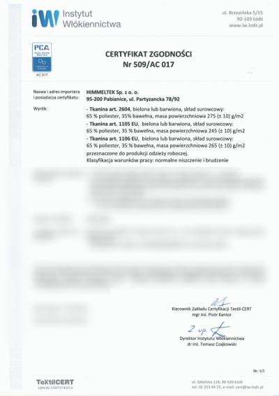 Certyfikat Instytutu Włókiennictwa w Łodzi (art. 2604,  1105EU i 1106EU)