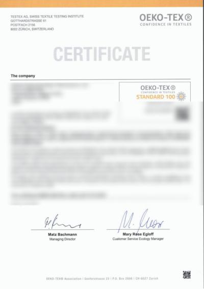 Certyfikat OEKO-TEX